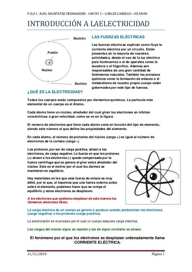 P.Q.P.I. AUXI. MUNTATGE ORDINADORS - UNITAT 1 – CARLOS CARDELO – IES MVM 11/11/2010 Pàgina 1 INTRODUCCIÓN A LAELECTRICIDAD...