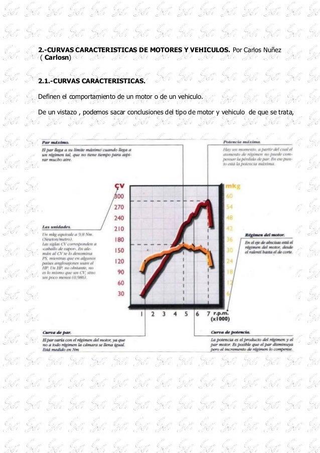 2.-CURVAS CARACTERISTICAS DE MOTORES Y VEHICULOS. Por Carlos Nuñez ( Carlosn) 2.1.-CURVAS CARACTERISTICAS. Definen el comp...