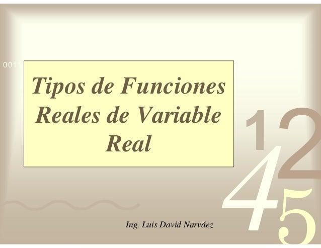 42 5 1 0011 0010 1010 1101 0001 0100 1011 Tipos de Funciones Reales de Variable Real Ing. Luis David Narváez