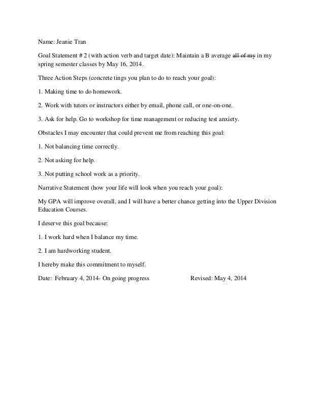 Goal Setting Assignment – Goal Statement