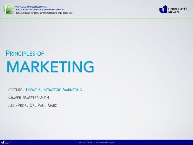 "Jun.-Prof. Dr. Paul Marx   University of Siegen ""Principles of Marketing""Jun.-Prof. Dr. Paul Marx   Universität Siegen WIR..."