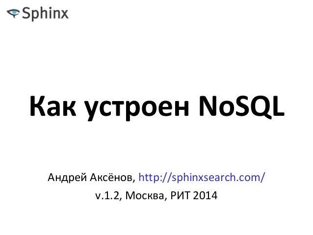 Как устроен NoSQL Андрей Аксёнов, http://sphinxsearch.com/ v.1.2, Москва, РИТ 2014