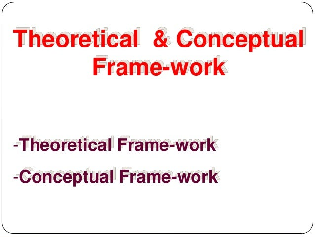 Theoretical & Conceptual Frame-work -Theoretical Frame-work -Conceptual Frame-work