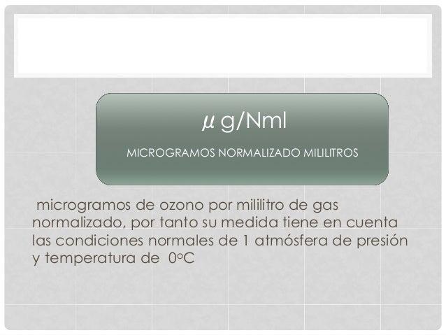 microgramos de ozono por mililitro de gas normalizado, por tanto su medida tiene en cuenta las condiciones normales de 1 a...