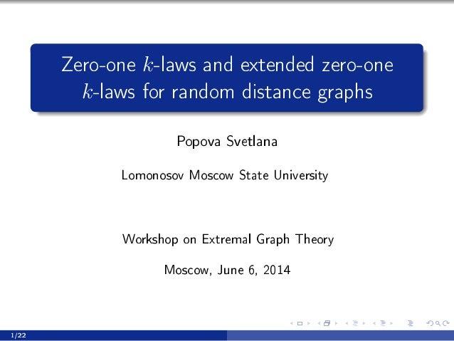 Zero-one k-laws and extended zero-one k-laws for random distance graphs Popova Svetlana vomonosov wos™ow ƒt—te …niversity ...