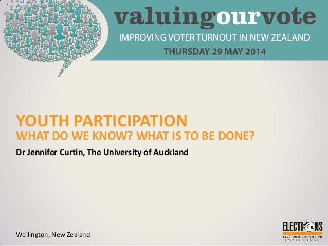 YOUTH PARTICIPATION WHAT DO WE KNOW? WHAT IS TO BE DONE? Dr Jennifer Curtin, The University of Auckland Wellington, New Ze...