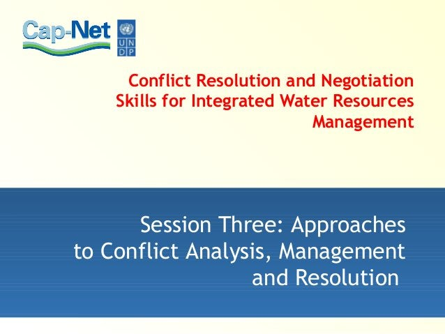 Conflict Resolution and Negotiation Skills for Integrated Water Resources Management Session Three: Approaches to Conflict...