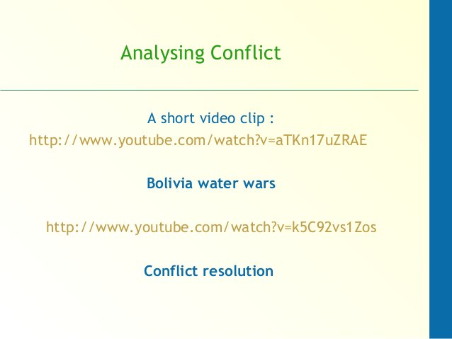 Analysing Conflict A short video clip : http://www.youtube.com/watch?v=aTKn17uZRAE Bolivia water wars http://www.youtube.c...