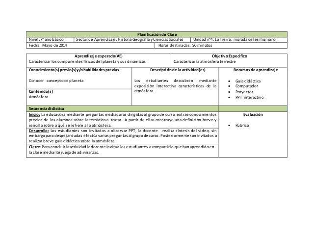 Planificación de Clase Nivel:7°año básico Sectorde Aprendizaje:HistoriaGeografíayCienciasSociales Unidadn°4: La Tierra, mo...