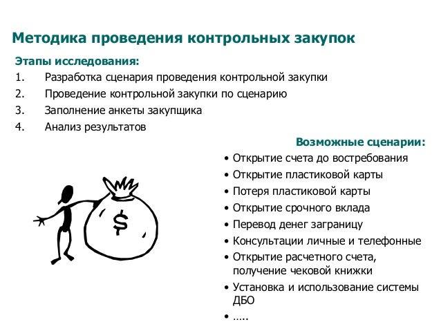 Методика проведения контрольных закупок Этапы исследования: 1. Разработка сценария проведения контрольной закупки 2. Про...
