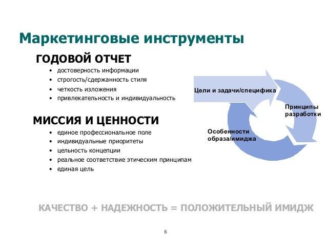 Маркетинговые инструменты ГОДОВОЙ ОТЧЕТ • достоверность информации • строгость/сдержанность стиля • четкость изложения ...