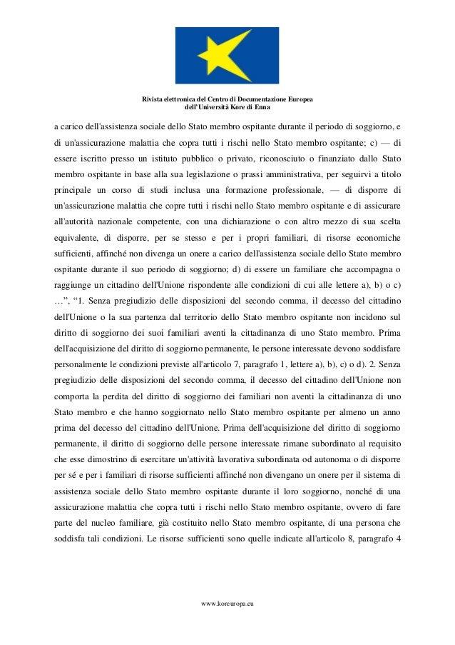 Tomaselli Alessandro, Cittadinanza, libertà di circolazione, diritti …