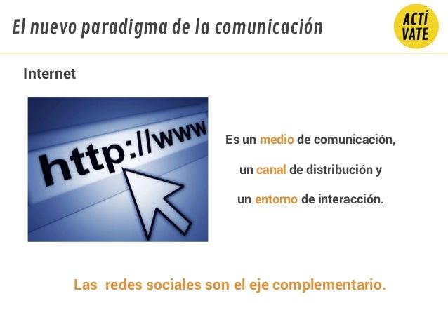 Internet Es un medio de comunicación, un canal de distribución y un entorno de interacción. Las redes sociales son el eje ...
