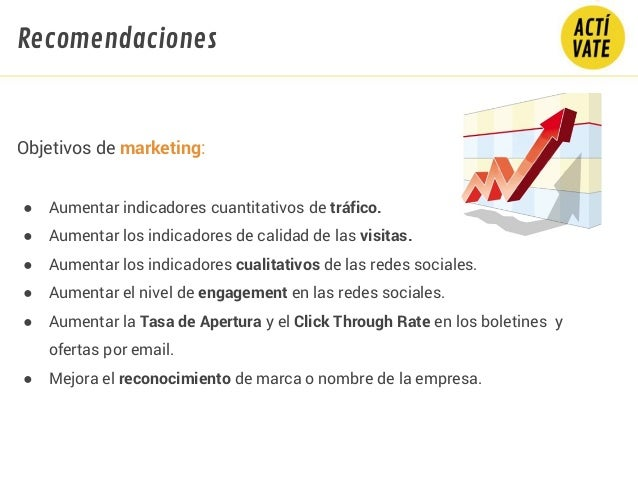Objetivos de marketing: ● Aumentar indicadores cuantitativos de tráfico. ● Aumentar los indicadores de calidad de las visi...