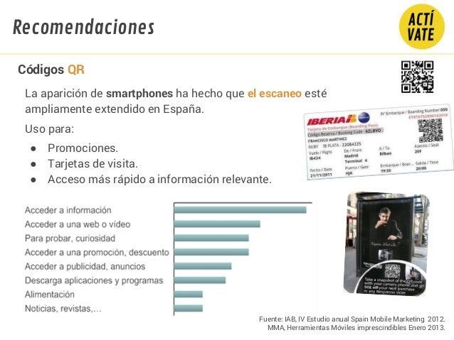 La aparición de smartphones ha hecho que el escaneo esté ampliamente extendido en España. Uso para: ● Promociones. ● Tarje...
