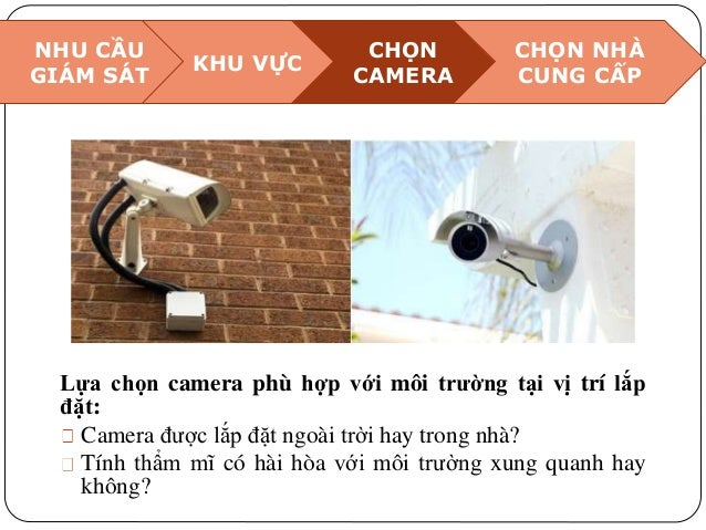 NHU CẦU GIÁM SÁT KHU VỰC CHỌN CAMERA CHỌN NHÀ CUNG CẤP Lựa chọn camera phù hợp với môi trường tại vị trí lắp đặt: Camera đ...