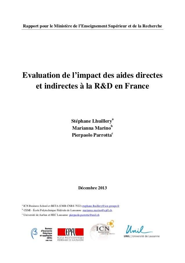 Rapport pour le Ministère de l'Enseignement Supérieur et de la Recherche Evaluation de l'impact des aides directes et indi...