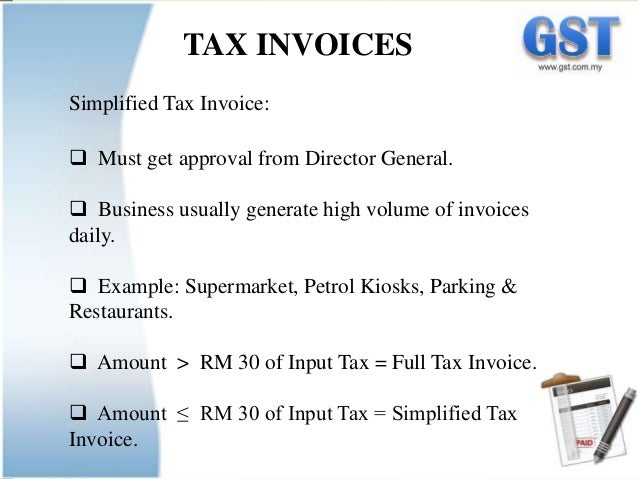 The Implementation of Goods and Service Tax GST Malaysia – Examples of Tax Invoices