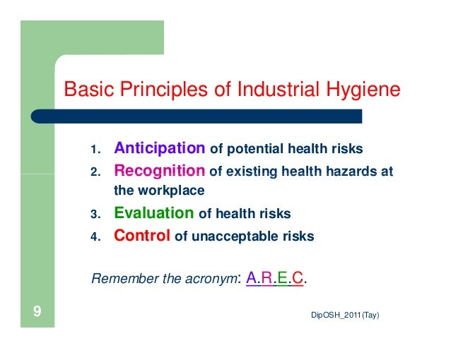 industrial hygiene The industrial hygienist is responsible for the identification, measurement, and analysis of workplace health hazards, and for devising and developing methods for eliminating or.