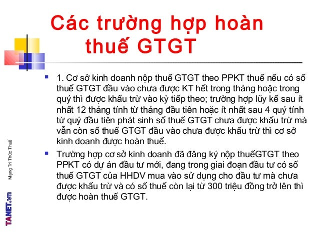 TANET - Thuế GTGT - Phần 4 Slide 2