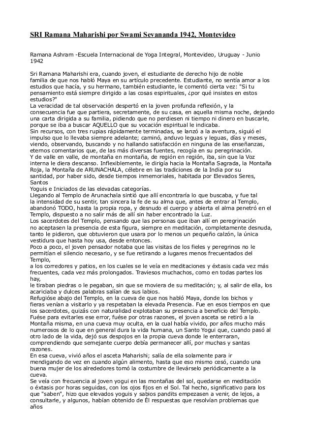 SRI Ramana Maharishi por Swami Sevananda 1942, Montevideo Ramana Ashram -Escuela Internacional de Yoga Integral, Montevide...