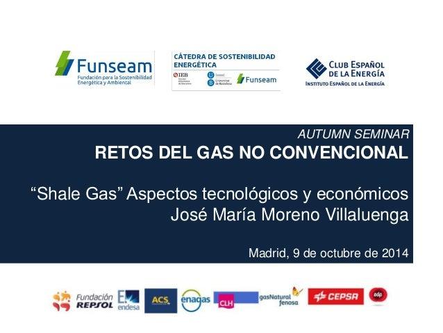 """AUTUMN SEMINAR RETOS DEL GAS NO CONVENCIONAL """"Shale Gas"""" Aspectos tecnológicos y económicos José María Moreno Villaluenga ..."""