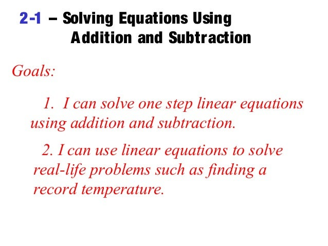 when can you use linear equations to solve problems
