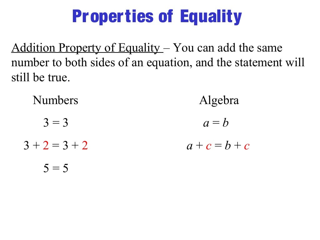 property of equality
