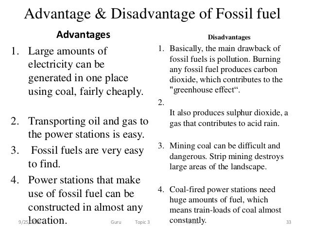 Advantages And Disadvantages Of Coal Oil And Natural Gas