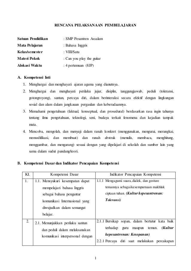 Rpp Bahasa Inggris Kelas 8 Kurikulum 2013 Terbaru Chapter 2