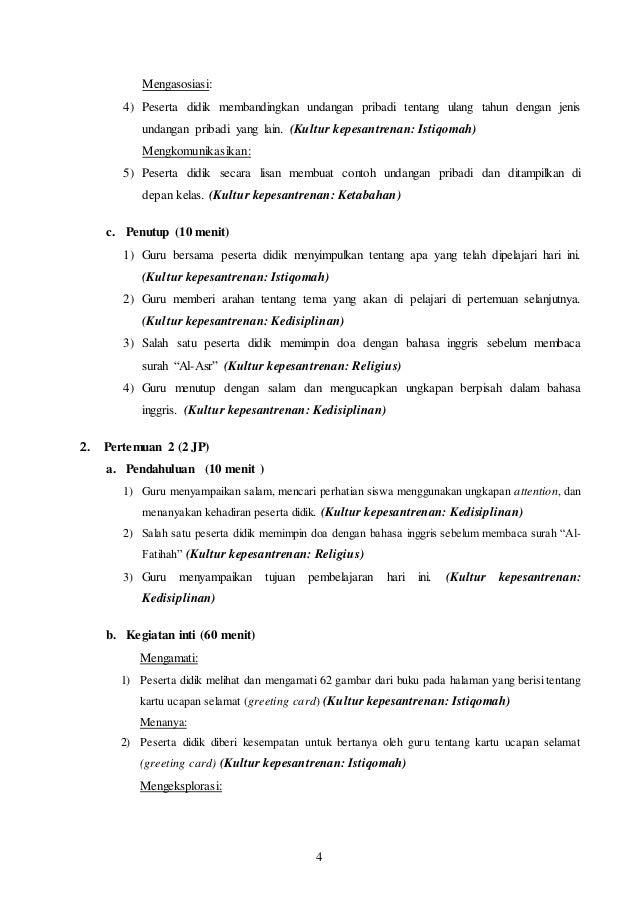 Rpp Bahasa Inggris Kelas 8 Kurikulum 2013 Terbaru Chapter 4