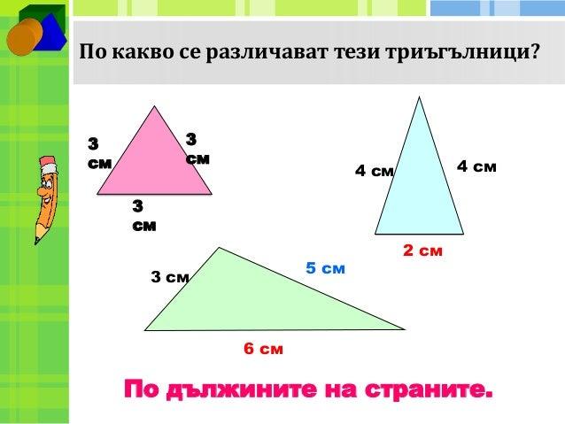 По какво се различават тези триъгълници?  3  см  4 см  4 см  2 см  3  см  см  3 см  5 см  6 см  3  По дължините на странит...