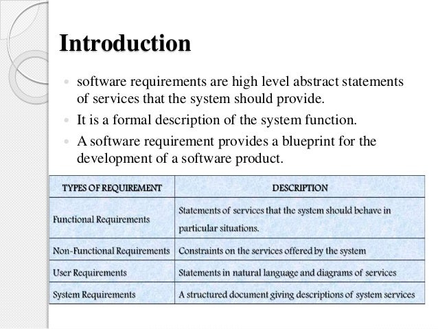 Software Requirement Specification - Requirement specification