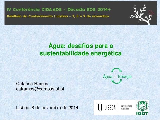 Catarina Ramos  catramos@campus.ul.pt  Lisboa, 8 de novembro de 2014  Água: desafios para a sustentabilidade energética  Á...