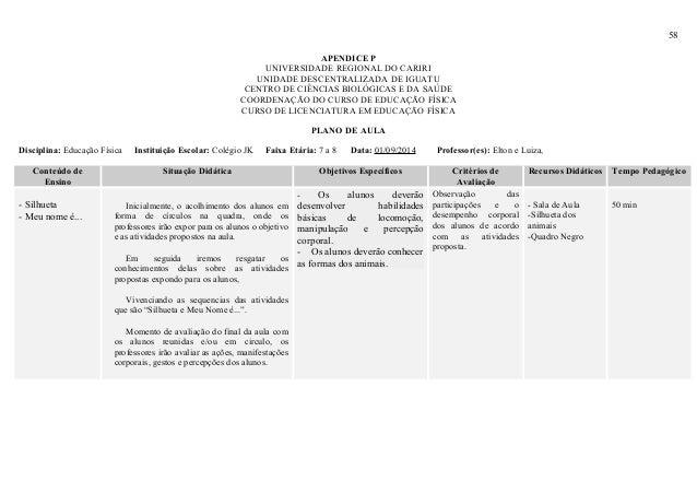 58 APENDICE P UNIVERSIDADE REGIONAL DO CARIRI UNIDADE DESCENTRALIZADA DE IGUATU CENTRO DE CIÊNCIAS BIOLÓGICAS E DA SAÚDE C...