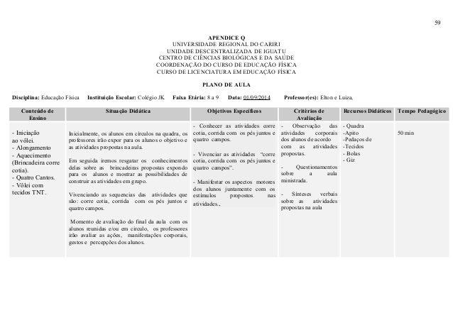 59 APENDICE Q UNIVERSIDADE REGIONAL DO CARIRI UNIDADE DESCENTRALIZADA DE IGUATU CENTRO DE CIÊNCIAS BIOLÓGICAS E DA SAÚDE C...