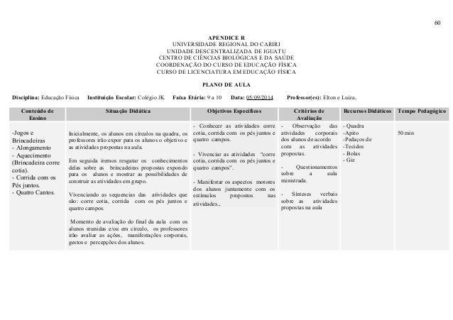 60 APENDICE R UNIVERSIDADE REGIONAL DO CARIRI UNIDADE DESCENTRALIZADA DE IGUATU CENTRO DE CIÊNCIAS BIOLÓGICAS E DA SAÚDE C...