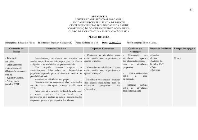 61 APENDICE S UNIVERSIDADE REGIONAL DO CARIRI UNIDADE DESCENTRALIZADA DE IGUATU CENTRO DE CIÊNCIAS BIOLÓGICAS E DA SAÚDE C...