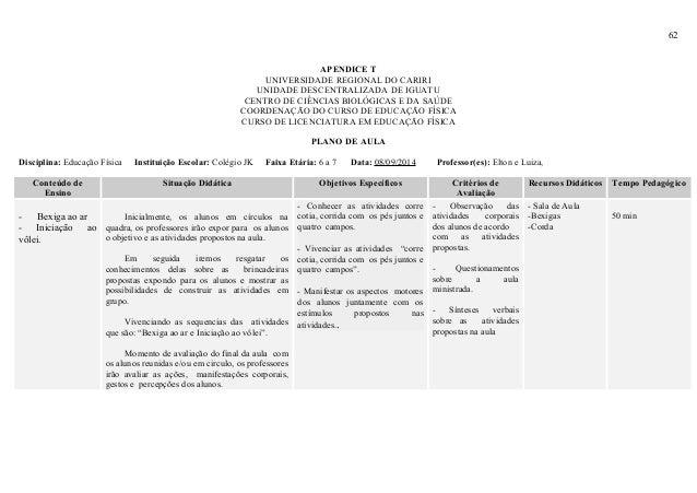 62 APENDICE T UNIVERSIDADE REGIONAL DO CARIRI UNIDADE DESCENTRALIZADA DE IGUATU CENTRO DE CIÊNCIAS BIOLÓGICAS E DA SAÚDE C...
