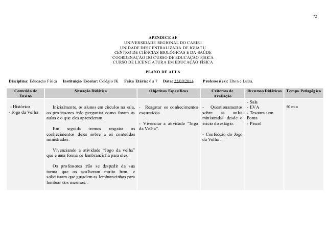 72 APENDICE AF UNIVERSIDADE REGIONAL DO CARIRI UNIDADE DESCENTRALIZADA DE IGUATU CENTRO DE CIÊNCIAS BIOLÓGICAS E DA SAÚDE ...