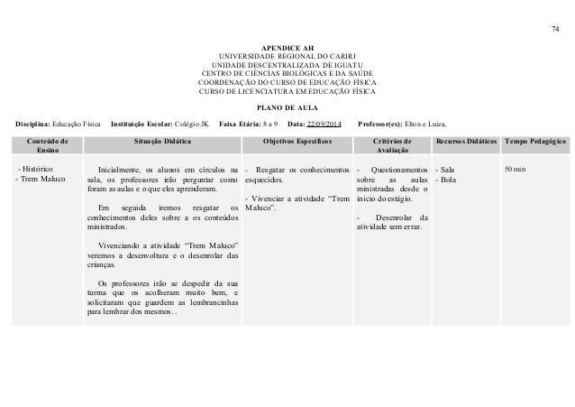 74 APENDICE AH UNIVERSIDADE REGIONAL DO CARIRI UNIDADE DESCENTRALIZADA DE IGUATU CENTRO DE CIÊNCIAS BIOLÓGICAS E DA SAÚDE ...