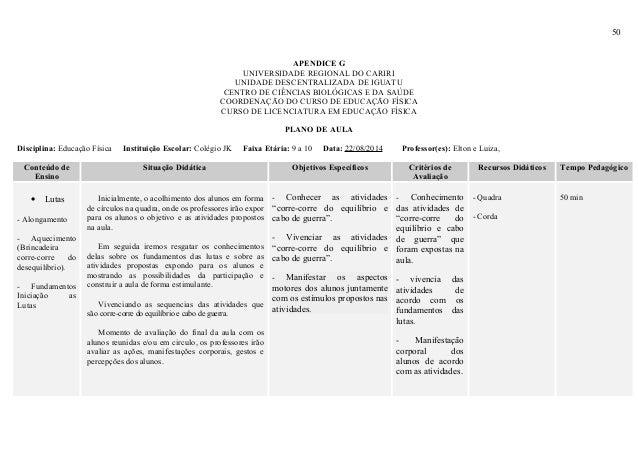 50 APENDICE G UNIVERSIDADE REGIONAL DO CARIRI UNIDADE DESCENTRALIZADA DE IGUATU CENTRO DE CIÊNCIAS BIOLÓGICAS E DA SAÚDE C...