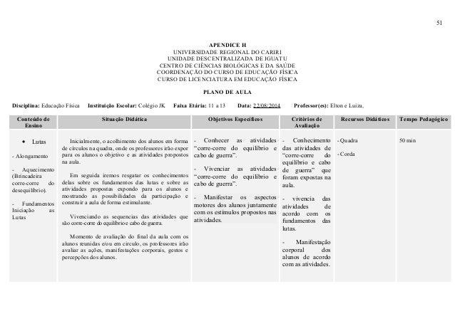 51 APENDICE H UNIVERSIDADE REGIONAL DO CARIRI UNIDADE DESCENTRALIZADA DE IGUATU CENTRO DE CIÊNCIAS BIOLÓGICAS E DA SAÚDE C...