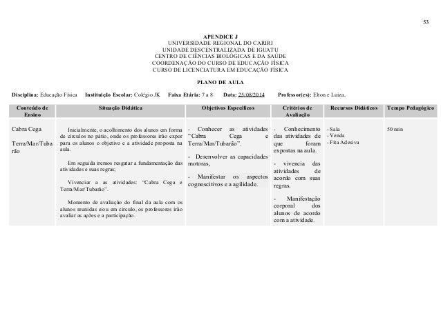 53 APENDICE J UNIVERSIDADE REGIONAL DO CARIRI UNIDADE DESCENTRALIZADA DE IGUATU CENTRO DE CIÊNCIAS BIOLÓGICAS E DA SAÚDE C...