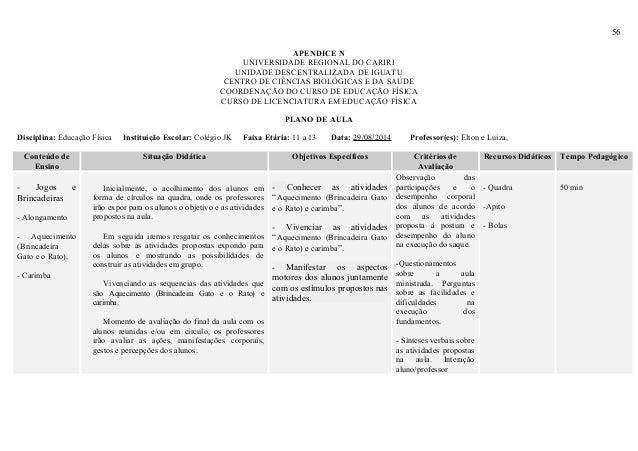 56 APENDICE N UNIVERSIDADE REGIONAL DO CARIRI UNIDADE DESCENTRALIZADA DE IGUATU CENTRO DE CIÊNCIAS BIOLÓGICAS E DA SAÚDE C...