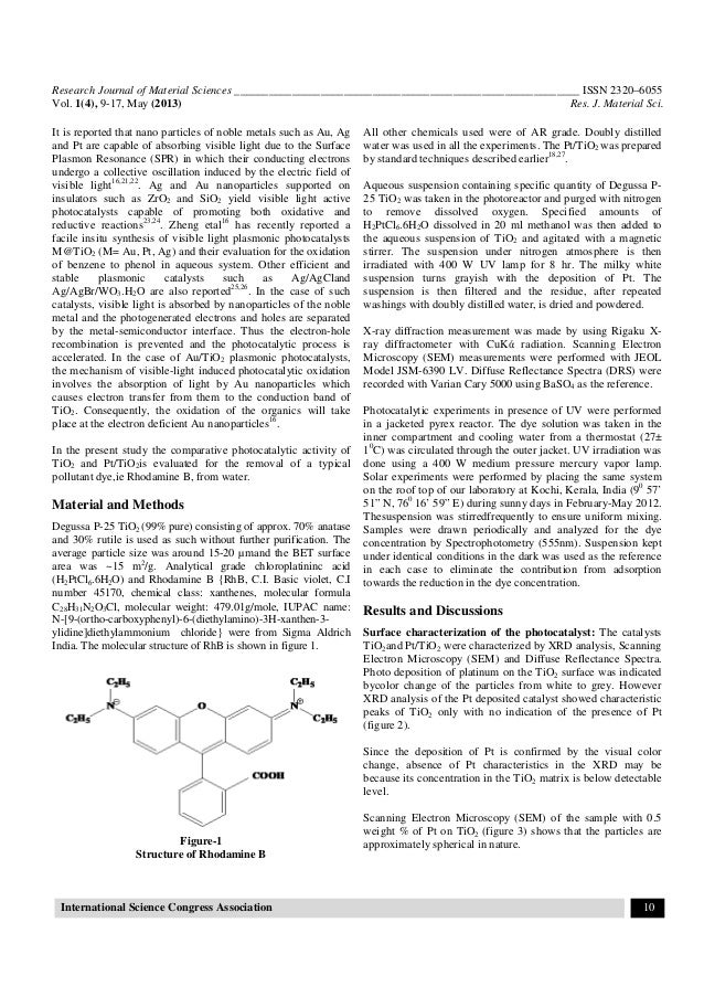 Sunlight induced removal of Rhodamine B from water through
