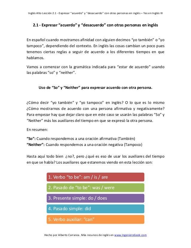 """Inglés Alto Lección 2.1 - Expresar """"acuerdo"""" y """"desacuerdo"""" con otras personas en inglés – Yes en Inglés III  Hecho por Al..."""