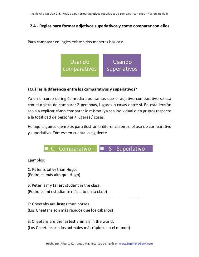 Inglés Alto Lección 2.4.- Reglas para formar adjetivos superlativos y comparar con ellos – Yes en Inglés III  Hecho por Al...