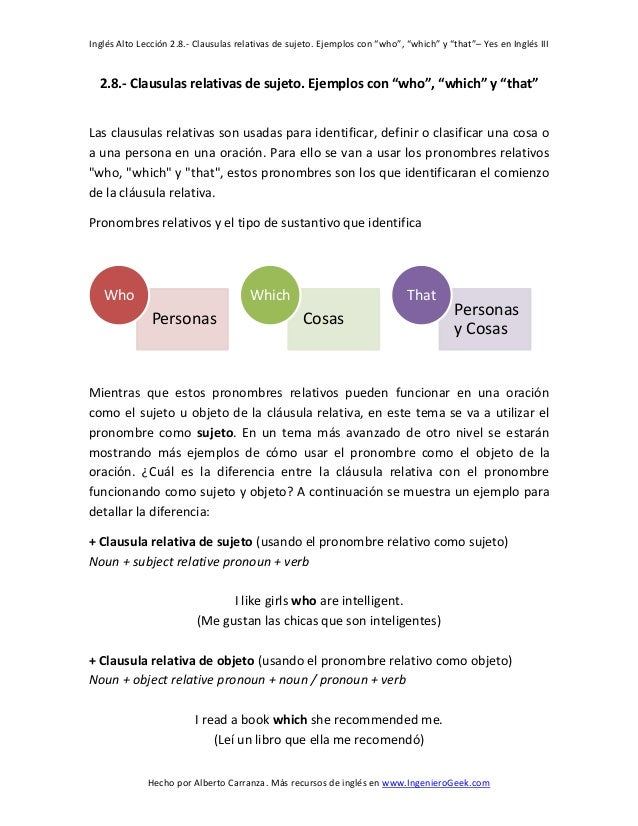 """Inglés Alto Lección 2.8.- Clausulas relativas de sujeto. Ejemplos con """"who"""", """"which"""" y """"that""""– Yes en Inglés III  Hecho po..."""