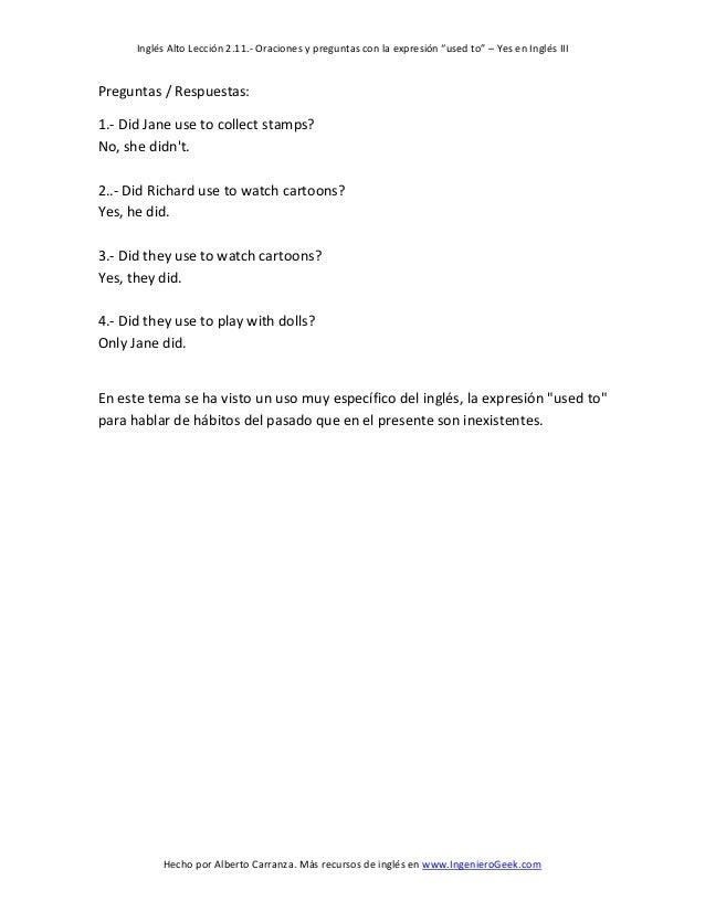 211 Oraciones Y Preguntas Con La Expresión Used To